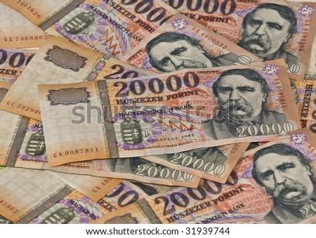 Heap banknotes Hungarian twenty tousend Forint - stock photo