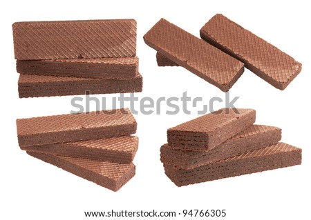 Heap chocolate wafer isolated on white background - stock photo