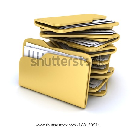 Heap file on white background (done in 3d)  - stock photo