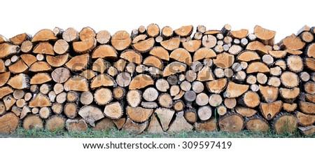Heap firewood - stock photo