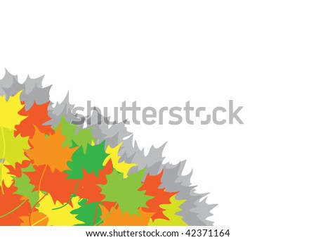 Heap from autumn maple leaves in a corner on the white background