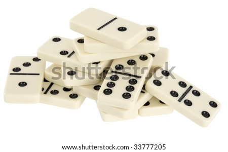 Heap from dominoes isolated on a white background - stock photo