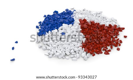 Heap made of mixed red white and blue particles over white background - stock photo