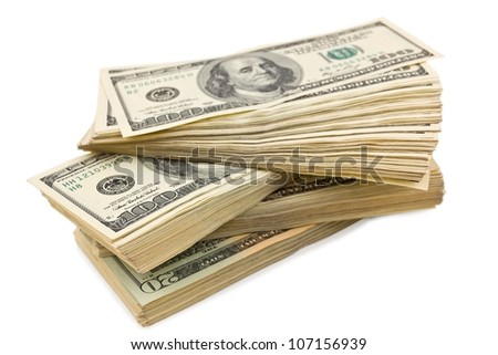 heap of a dollar banknotes on a white background - stock photo