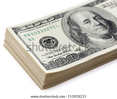 Heap of a dollar banknotes on a white background. Clipping Path  - stock photo
