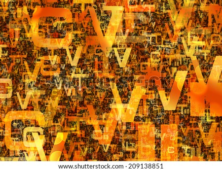 heap of abstract chaotic orange alphabet letters - stock photo