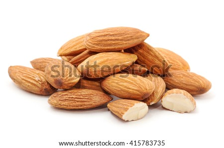 Heap of almond nuts isolated on white background
