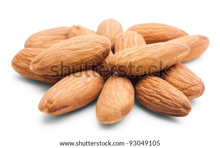 Heap of almonds isolated on white background - stock photo