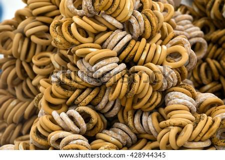 heap of appetizing bagels - stock photo