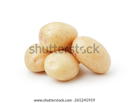 heap of baby potatoes isolated on white - stock photo