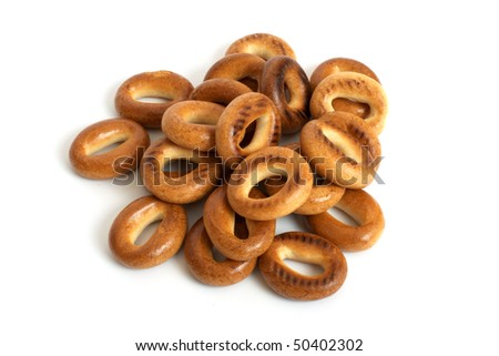 heap of bagels isolated on the white background - stock photo