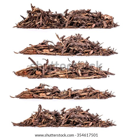 Heap of bark mulch on white background, set - stock photo