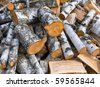 heap of birch firewoods as a background - stock photo