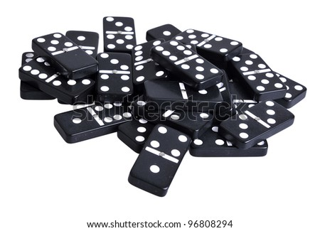 Heap of black domino tiles. Isolated on white - stock photo