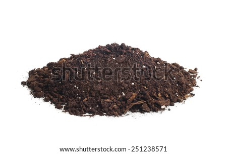 Heap of black soil isolated on white background