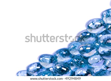 Heap of blue bright glass stones background, abstract - stock photo