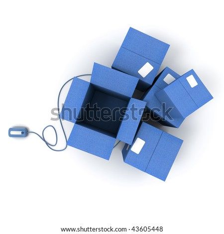 Heap of  blue cardboard boxes, one of them open connected to a computer mouse - stock photo