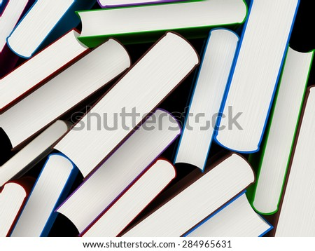 Heap of books in a hard cover, 3d illustration - stock photo