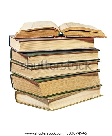 Heap of books isolated on white background. - stock photo