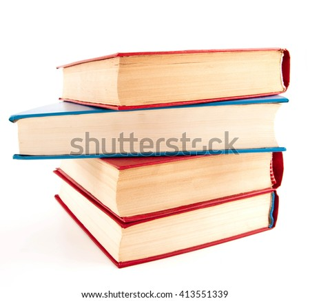 Heap of books on white