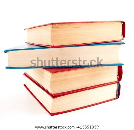 Heap of books on white - stock photo
