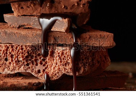 Heap of broken pieces chocolate