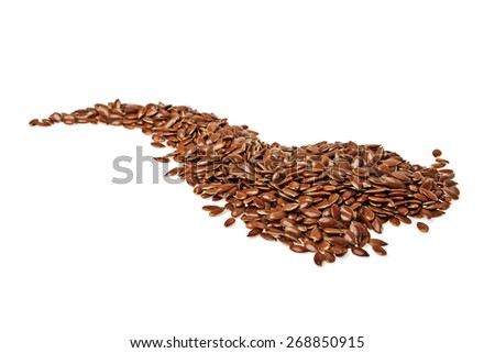 Heap of brown flax seed or linseed isolated on white background - stock photo