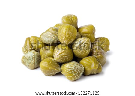 heap of capers on white background - stock photo
