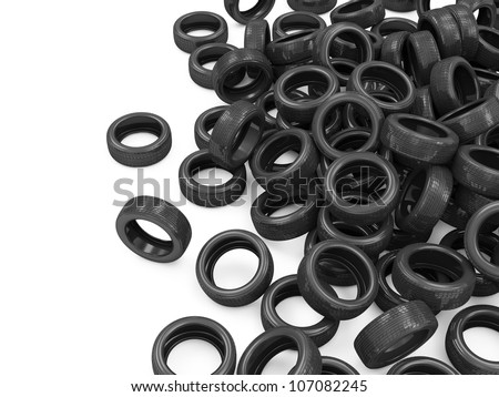 Heap of Car Tires isolated on white background with place for your text - stock photo