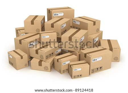 Heap of cardboard boxes isolated on white background - stock photo