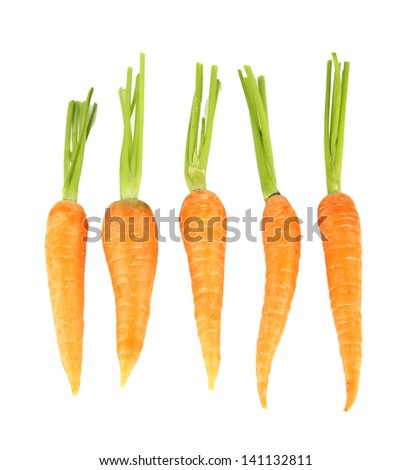 Heap of carrots, isolated on white - stock photo