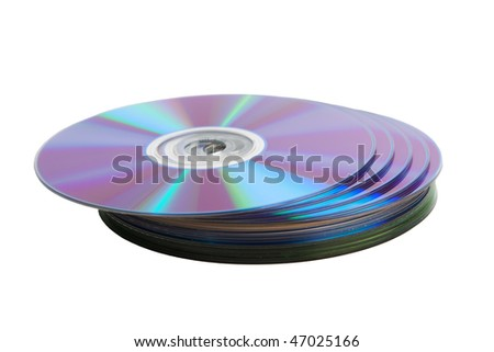 Heap of cd disks isolated over white background - stock photo