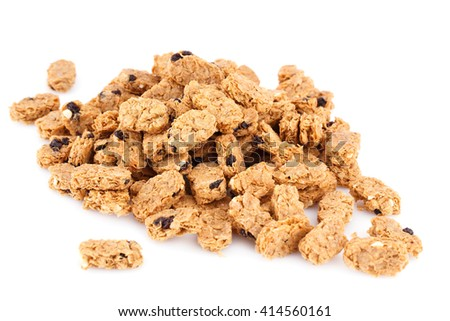 Heap of cereal breakfast granola isolated on white background. - stock photo