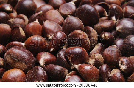 Heap of chestnuts in close up