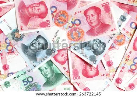 Heap of chinese yuans close-up - stock photo