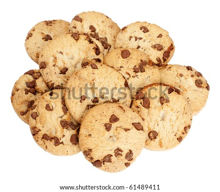 Heap of chocolate chip biscuits isolated over a white background. - stock photo