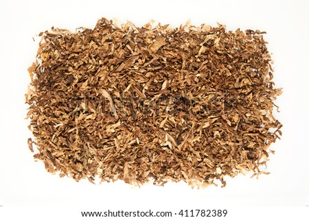 Heap of cigarettes ,tobacco,cannabis on white background - stock photo