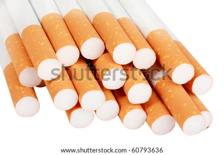 Heap of cigarettes with filter. Isolated on white background. Studio photography.