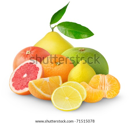 Heap of citrus fruits isolated on white