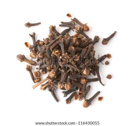 Heap of cloves isolated on white. Top view. - stock photo