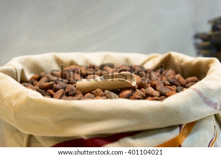 heap of cocoa beans in jute sack - stock photo