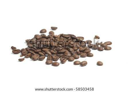 heap of coffee beans - stock photo