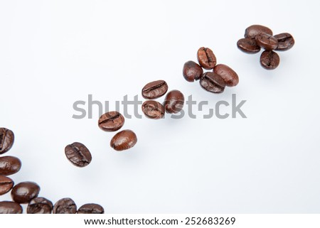 Heap of coffee beans and count coffee beans. isolated on white background.
