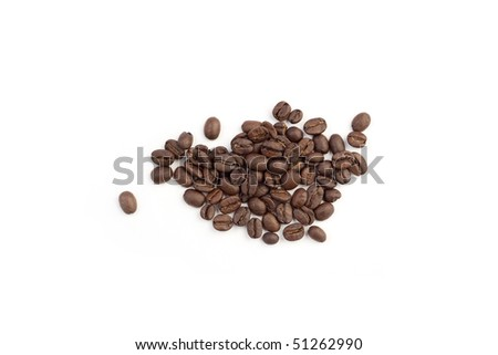 Heap of coffee beans on a white background - stock photo