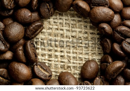 heap of coffee beans on burlap