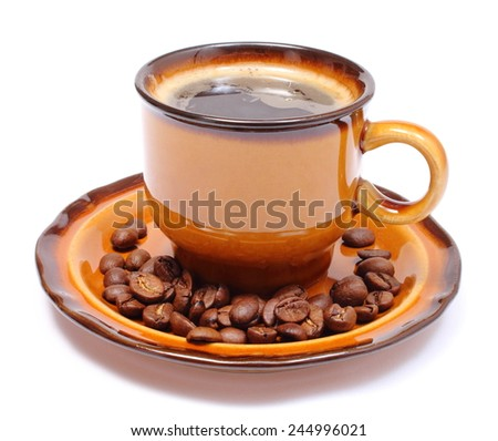 Heap of coffee grains and cup of hot beverage, cup of coffee. Isolated on white background - stock photo