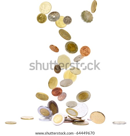 Heap of coins from all over the world and all years falling to the ground - stock photo