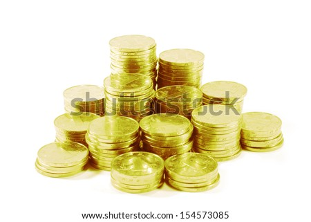 Heap of coins isolated on white background  - stock photo