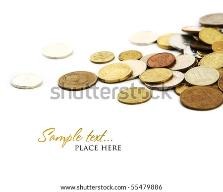 Heap of coins isolated on white background (shallow DOF) - stock photo