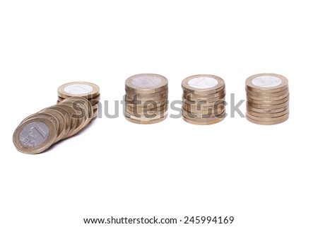 Heap of coins on a white background